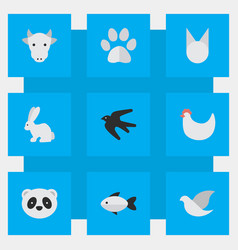 Set of simple animals icons elements sparrow cock vector