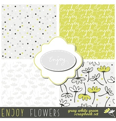 Enjoy flowers paper set vector