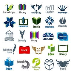 biggest collection of logos books and pens vector image