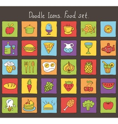 Food colored doodle icons vector