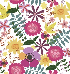 Seamless print with wild flowers vector