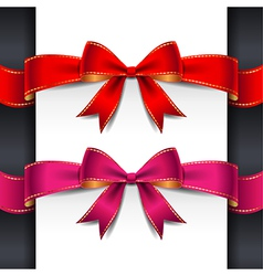 Ribbon red pink bows vector