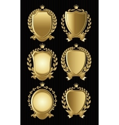 Set of gold heraldic of nameplates for design vector