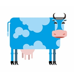 Blue cow white background of farm animals vector