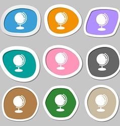 Globe symbols multicolored paper stickers vector