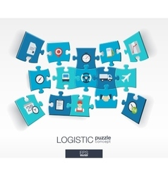 Abstract logistic background with connected color vector image vector image