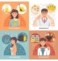 Alternative medicine 2x2 design concept vector