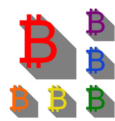 bitcoin sign set of red orange yellow green vector image