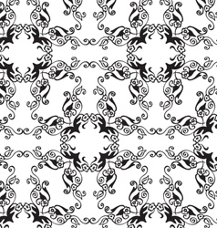 Black-white floral seamless ornament vector