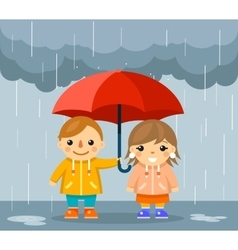 Boy and girl with umbrella standing under rain vector