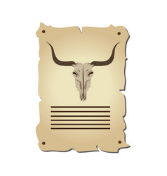 bull skull wild west icon vector image