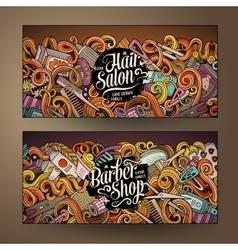 Cartoon cute doodles hair salon banners vector