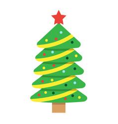 christmas tree flat icon new year and christmas vector image