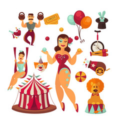 Circus elements and performers isolated vector