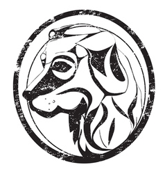 dog stamp vector image vector image