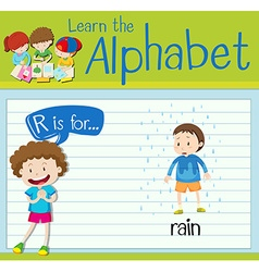 Flashcard letter R is for rain vector image