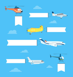 Flat airplanes set vector image vector image