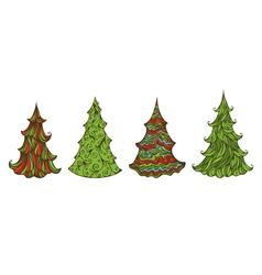 Four spruces isolated on white background vector image vector image