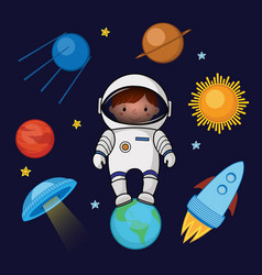 girl spaceman in space rocket ufo planets stars vector image vector image