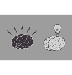 Human brain and lightbulb icon image vector