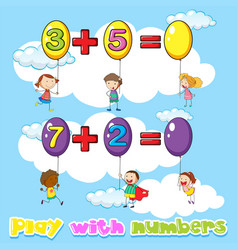 Kids adding numbers on balloons vector