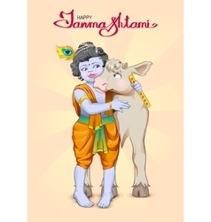 Krishna janmashtami lettering text for greeting vector