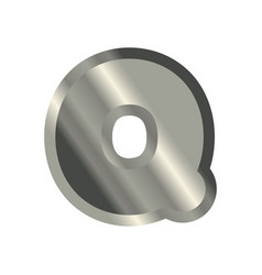 Letter q steel font metal alphabet sign iron abc vector