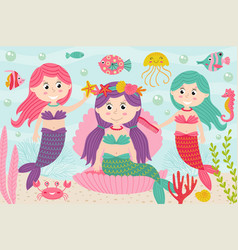 Mermaids comb and decorate their hair underwater vector