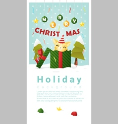 Merry christmas greeting banner with cat inside vector