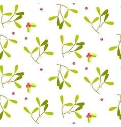 Mistletoe leaves seamless pattern vector image