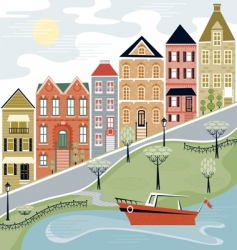 quaint village scene vector image vector image
