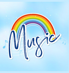 Rainbow and music notes in background vector