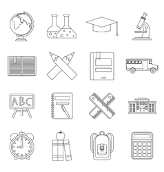 School icons set outline ctyle vector image