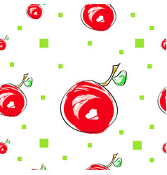 seamless tileable texture with cherry fruit and gr vector image vector image