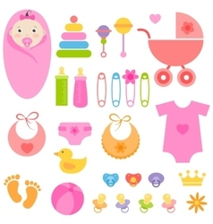 Set of baby girl elements vector