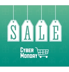 Shopping cart labels and cyber monday design vector