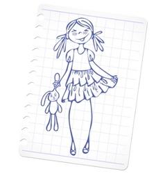 sketch fashion girl vector image vector image
