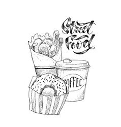 sketch hand drawn of street fast food vector image