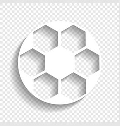 Soccer ball sign white icon with soft vector