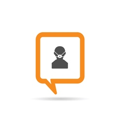 square orange speech bubble with man and mask icon vector image vector image