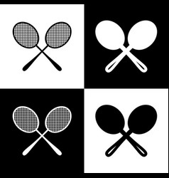 Tennis racquets sign black and white vector
