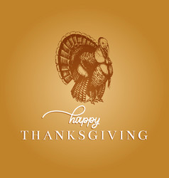 Thanksgiving day lettering with festive turkey vector