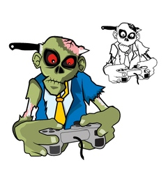 Zombie gamer with knife vector