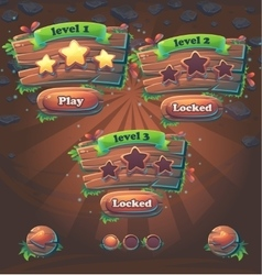 Wooden game user interface window levels vector