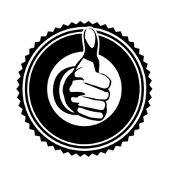 Hand front view monochrome with gesture ok stamp vector