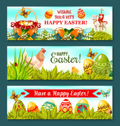 Easter holiday banner set with decorated eggs vector