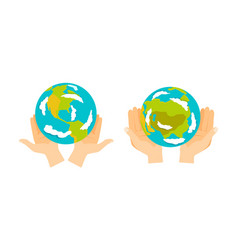 Globe earth in hand icon vector