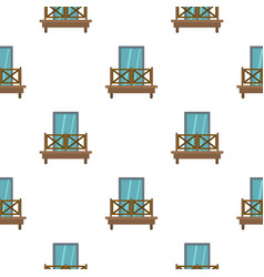 Balcony with wooden fence pattern flat vector