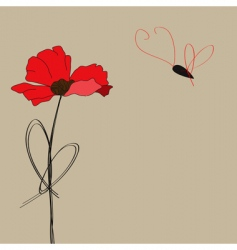 Poppy flower with butterfly vector
