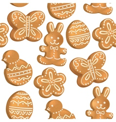 Seamless pattern of Easter cookies vector image